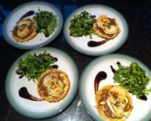 Goats Cheese and Red Onion Tarts, created at home by A