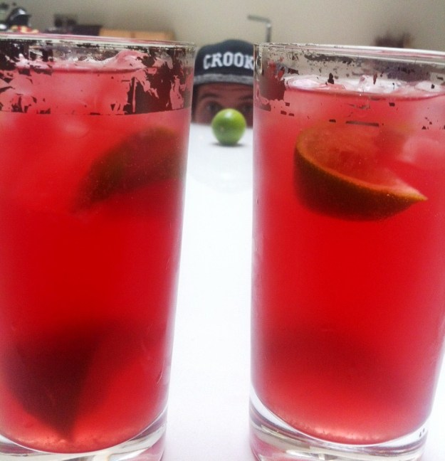 Pomegranate, Lime & Soda Water Coolers (with a splash of Vodka)