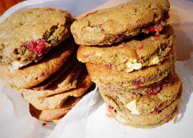 White Chocolate Raspberry Cookie Stack